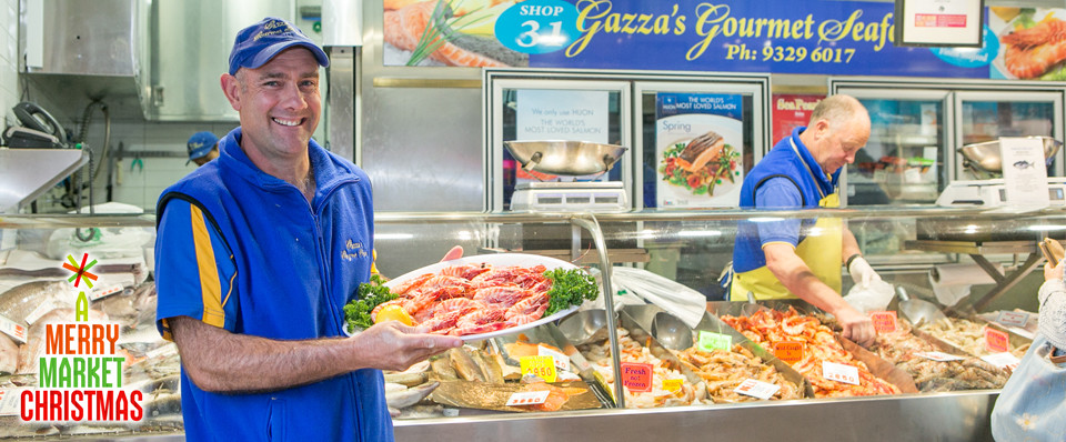 Gazza 39 s gourmet seafood queen vic market yourgrocer blog for Fish market queens